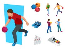 Isometric Bowling realistic icons set with game equipment, cafe tables, shelves for shoes, skittles, and balls isolated. Vector illustration. People, leisure Royalty Free Stock Image