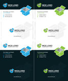 Isometric box business cards  Royalty Free Stock Photography