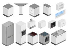 Isometric boxes of equipment for kitchen project. Isometric boxes of furniture and equipment for the kitchen project. Perspective view from the top. Blanks in Stock Photo