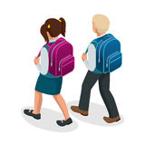Isometric boy and girl back to school concept.   Royalty Free Stock Images