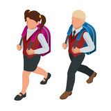 Isometric boy and girl back to school concept.  Royalty Free Stock Image