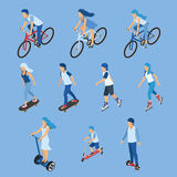 Isometric Boy, girl and kid riding bicycle, skateboard, scooter Royalty Free Stock Image