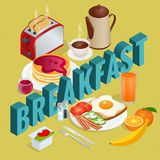 Isometric Breakfast and kitchen equipment icons set. English breakfast with fried eggs, bacon, sausages, beans, toasts. Coffee and fresh salad. Vector Royalty Free Stock Images