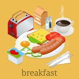 Isometric Breakfast and kitchen equipment icons set. English breakfast with fried eggs, bacon, sausages, beans, toasts. Coffee and fresh salad. Vector Royalty Free Stock Photography