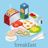Isometric Breakfast and kitchen equipment icons set. English breakfast with fried eggs, bacon, sausages, beans, toasts. Coffee and fresh salad. Vector Stock Photos