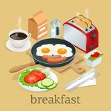Isometric Breakfast and kitchen equipment icons set. English breakfast with fried eggs, bacon, sausages, beans, toasts. Coffee and fresh salad. Vector Stock Images