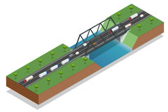 Isometric bridge over the river. Commercial transport. Truck car. Various types of load and cargo. Logistics. Vector Royalty Free Stock Photo