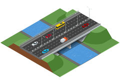 Isometric bridge over the river. Commercial transport. Various types of load and cargo. Logistics. Flat 3d Vector Stock Photo