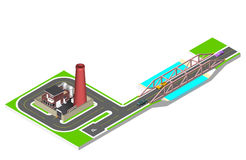 Isometric bridge with a road, cars and factory building with a pipe, cisternae, fence with a barrier. Vector Stock Images