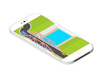 Isometric bridge with a road over the river standing on the smartphone screen. Vector illustration isolated on white Stock Photos