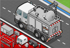 Isometric Broadcast TV Truck in Rear View Royalty Free Stock Photos