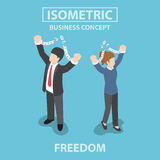 Isometric bsiness People breaking metal chain to freedom Royalty Free Stock Photo