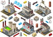 Isometric budynek fabryki set Obraz Royalty Free