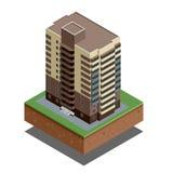 Isometric budynek nieruchomość Mieszkaniowy dom wektor - miasto budynki - dekoracyjne ikony ustawia - Zdjęcia Royalty Free