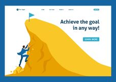 Isometric Build a Career, Succeed at the Top. Isometric Build a career, businessman climbs the big Golden mountain, succeed. Website Template Landing page royalty free illustration