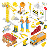 Isometric Builder with Construction Instruments and Crane Royalty Free Stock Image