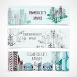 Isometric Building Banners Stock Photo