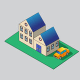 Isometric building and car illustration. House 3d icon. Stock Image