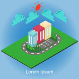 Isometric building city and element. Sky, sun Stock Image