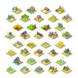 Isometric Building City Map Farm Icon Set Vector Illustration. Isometric farm house building stuff farming agriculture scene 3D icon set collection vector Stock Photography