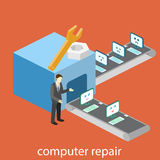 Isometric  building of computer repair. broken computers come for repairs. Flat 3D illustration. Stock Photography