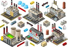Isometric Building Factory Set. Industry Power Plant