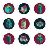 Isometric building icons set vector illustration Stock Image