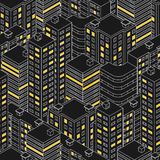 Isometric building at night.  Linear style. The outlines of sky Royalty Free Stock Photography