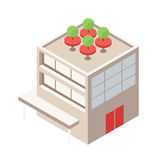 Isometric Building with Rooftop Green Terrace - Element for Web, Tileset Map, Landscape Design, Urban Architecture Royalty Free Stock Photography