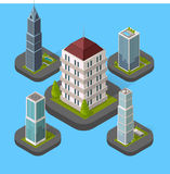 Isometric Building Set. Design flat style. 3d modern house building with helipad or business offices isolated on a blue background. Templates for building web Stock Photography