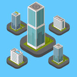 Isometric Building Set. Design flat style. 3d modern house building with helipad or business offices isolated on a blue background. Templates for building web Stock Image