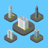 Isometric Building Set. Design flat style. 3d modern house building with helipad or business offices isolated on a blue background. Templates for building web Royalty Free Stock Photos