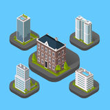 Isometric Building Set. Design flat style. 3d modern house building with helipad or business offices isolated on a blue background. Templates for building web Royalty Free Stock Image