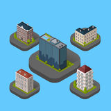 Isometric Building Set. Design flat style. 3d modern house building with helipad or business offices isolated on a blue background. Templates for building web Royalty Free Stock Photo