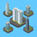 Isometric Building Set. Design flat style. 3d modern house building with helipad or business offices isolated on a blue background. Templates for building web Stock Photos