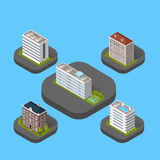 Isometric Building Set. Design flat style. 3d modern house building with helipad or business offices isolated on a blue background. Templates for building web Stock Images