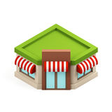 Isometric building shop isolated on white background. 3d rendering. Royalty Free Stock Photo