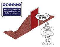 Isometric building site with health & safety sign Stock Image