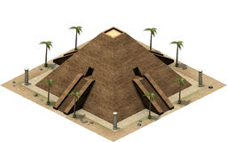 Isometric buildings of ancient Egypt, great pyramid. 3D rendering stock illustration