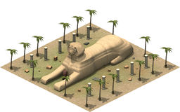 Isometric buildings of ancient Egypt, sphinx. 3D rendering. 3D rendering of an isometric platform of ancient Egypt. An illustration of old architecture sphinx Royalty Free Stock Image