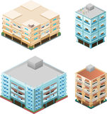 Isometric buildings apartment house construction 3 Royalty Free Stock Photos