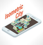 Isometric buildings. City in smartphone. Vector Royalty Free Stock Photography
