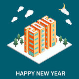 Isometric buildings in the form of 2016. Isometric vector illustration. New Year poster vector illustration
