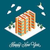 Isometric buildings in the form of 2017. New Year poster, flyer template. Real estate. Winter landscape. Holiday vector. Illustration on a blue background Royalty Free Stock Photography