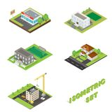 Isometric buildings icons set royalty free illustration