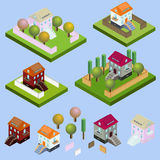 Isometric buildings located. With garden, fence, trees, nature isolated vector illustration