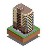 Isometric buildings real estate - city buildings - Residential house - decorative icons set -  vector Royalty Free Stock Photos