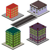 Isometric Buildings and Road Stock Photo