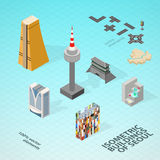 Isometric buildings of Seoul. Royalty Free Stock Photo