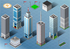 Isometric Buildings Set Stock Images